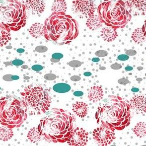 Borders of Stamped Roses in Red and Teal