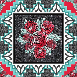 Red Rose Quilt Square Stone Inlay Tiles for Wholecloth Quilt