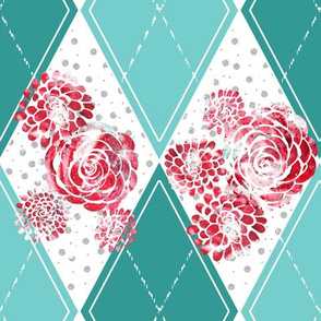 Teal Argyle with Stamped Red Roses