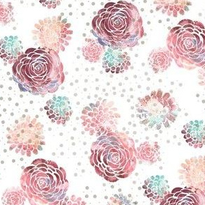 Borders of Stamped Roses in Pink, Peach, and Teal