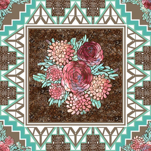 Boho Modern Rose Quilt Square Stone Inlay Tiles for Wholecloth Quilt