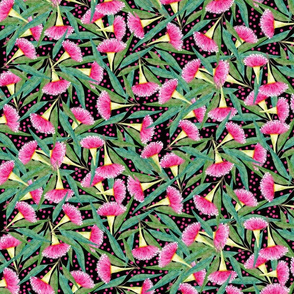 Australian Pink & Green Floral on black