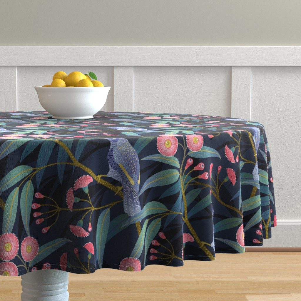 Malay Round Tablecloth featuring Eucalyptus flowers by julia_gosteva