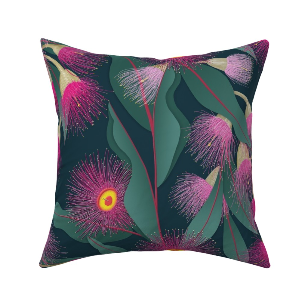 Catalan Throw Pillow featuring Flowering Gum by j9design