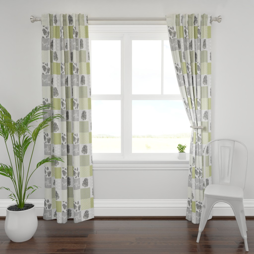 Plymouth Curtain Panel featuring Sweet Pea - Bunny Cheater Quilt Green by rebeccaink