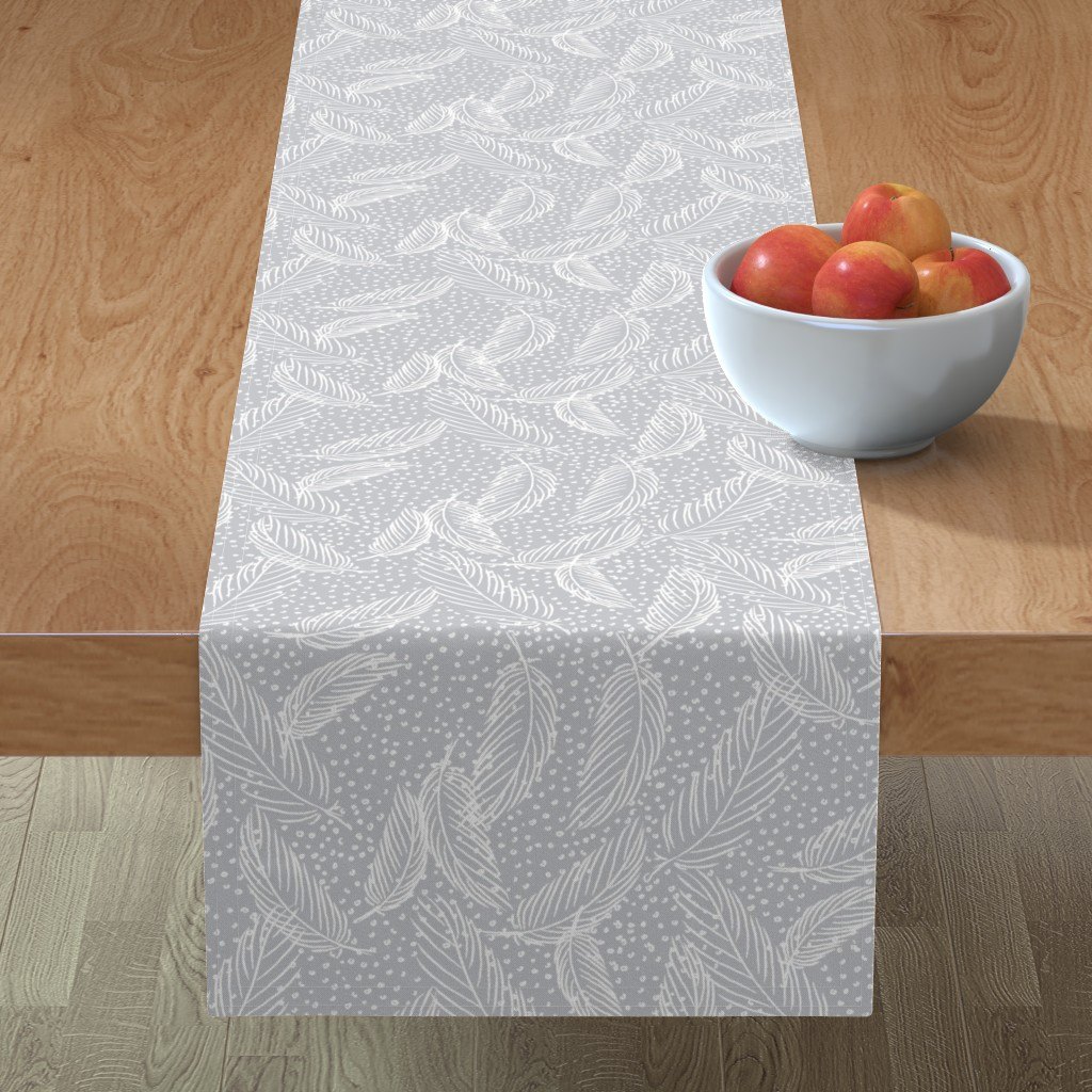 Minorca Table Runner featuring Snowy feathers by needlebook