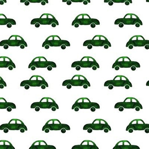 Green cars • watercolor pattern for baby boy's nursery