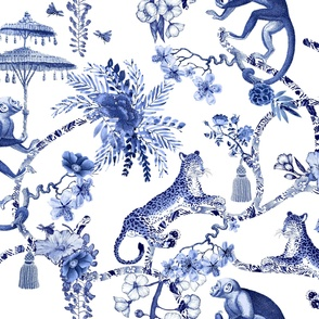 """Chinoiserie  - """"Whimsy""""  -  Blue and White"""