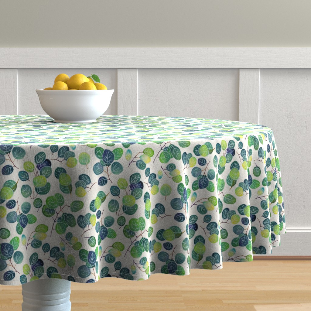 Malay Round Tablecloth featuring Australian eucalyptus (watercolor) by elena_naylor