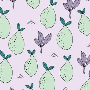 Lemon and lime garden summer fruit cocktail print botanical design lilac mint