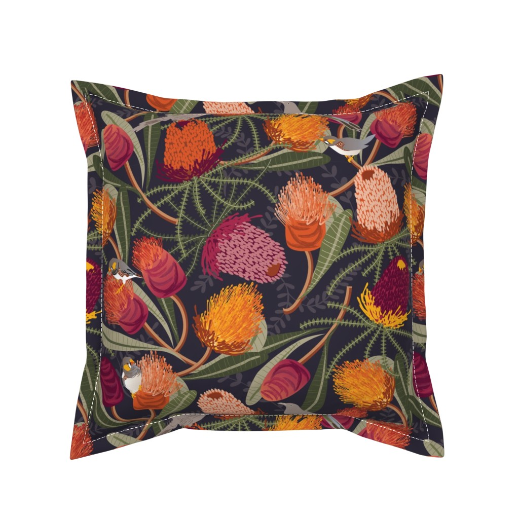 Serama Throw Pillow featuring Australian Banksia by camcreative