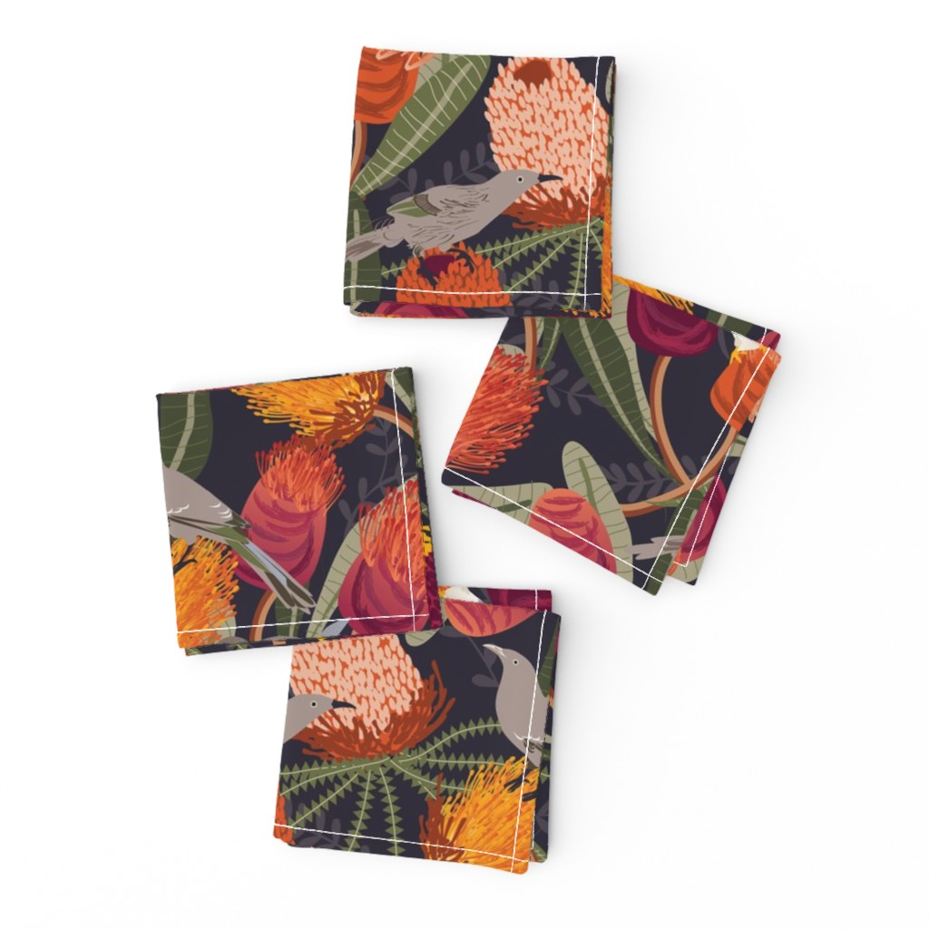 Frizzle Cocktail Napkins featuring Australian Banksia by camcreative