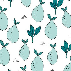 Lemon and lime garden summer fruit cocktail print botanical design mint teal white