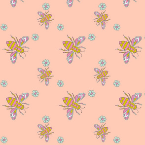 Peachy Bees Floral