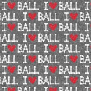 I heart ball - grey - dog - LAD19