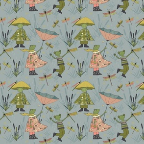 Spring Rain Frog and Dragonfly - Gray