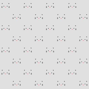 kitty faces minimal pretty pink black on grey :: cats n' kittens