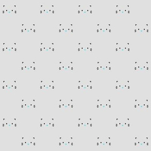 kitty faces minimal sky blue black on grey :: cats n' kittens