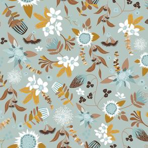 Australian Flora - Blue and Brown