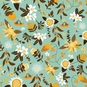 Australian Flora - Teal and Yellow-01