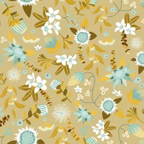 Australian Flora - Blue and Mustard-01