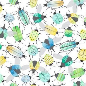 watercolor beetles - small