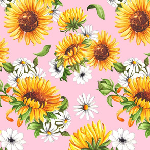 Sunflowers on Pink - Small Scale