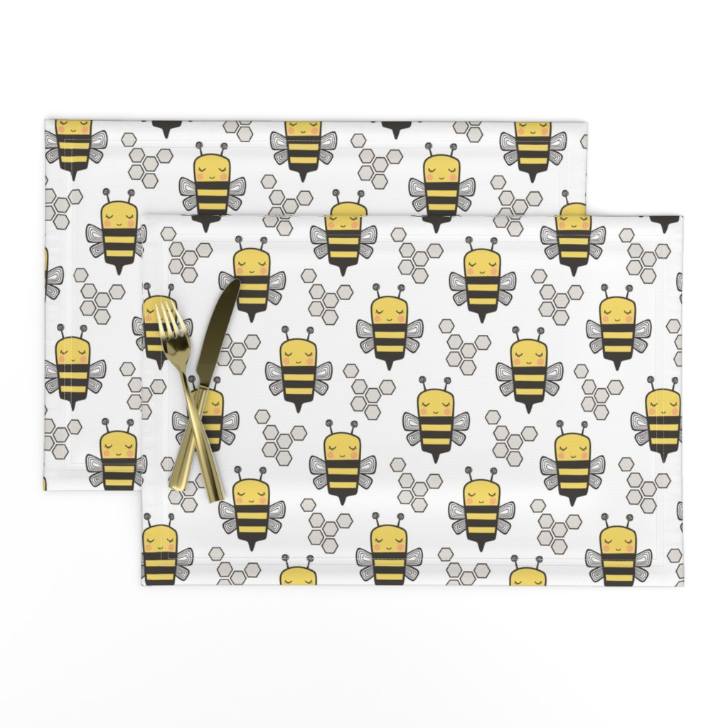 Lamona Cloth Placemats featuring Bees Honeycomb Black&White on White 3 inch by caja_design