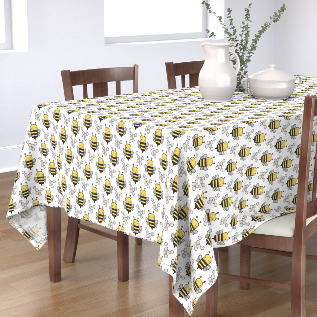 Bantam Rectangular Tablecloth featuring Bees Honeycomb Black&White on White 3 inch by caja_design
