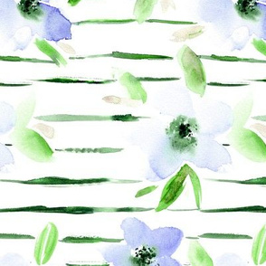 Watercolor flowers with green stripes || floral pattern for home decor