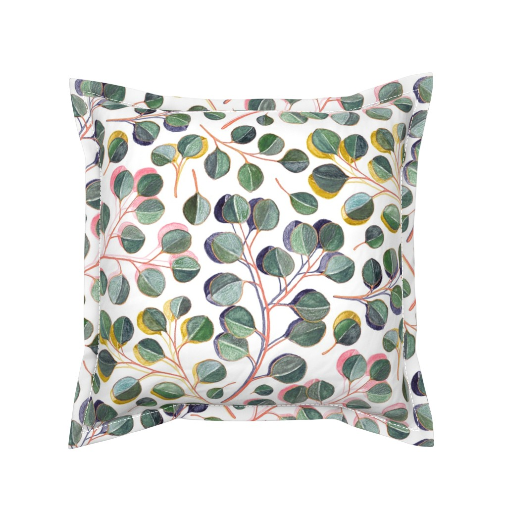 Serama Throw Pillow featuring Simple Silver Dollar Eucalyptus Leaves by micklyn
