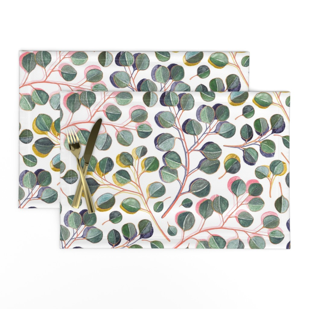 Lamona Cloth Placemats featuring Simple Silver Dollar Eucalyptus Leaves by micklyn