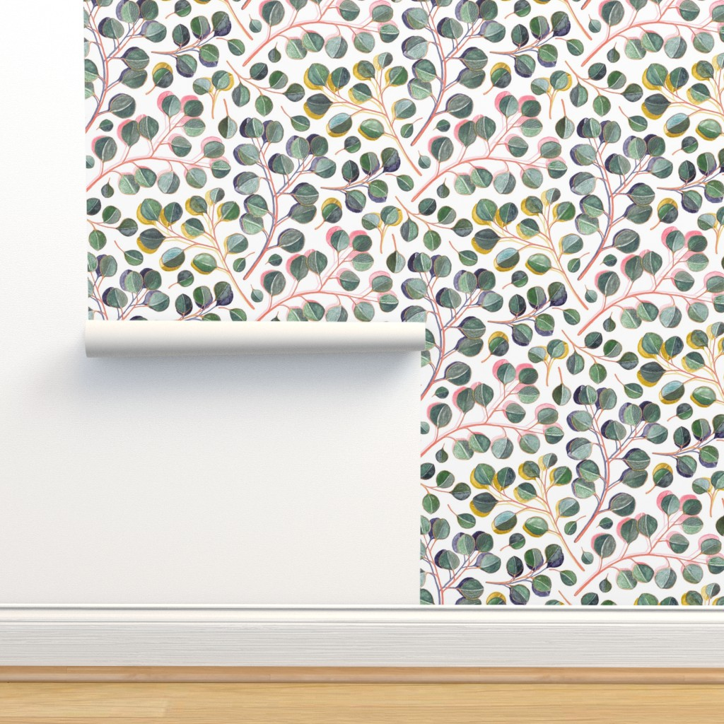 Isobar Durable Wallpaper featuring Simple Silver Dollar Eucalyptus Leaves by micklyn