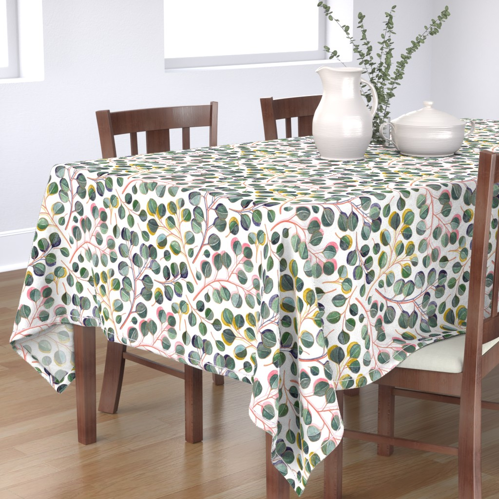 Bantam Rectangular Tablecloth featuring Simple Silver Dollar Eucalyptus Leaves by micklyn