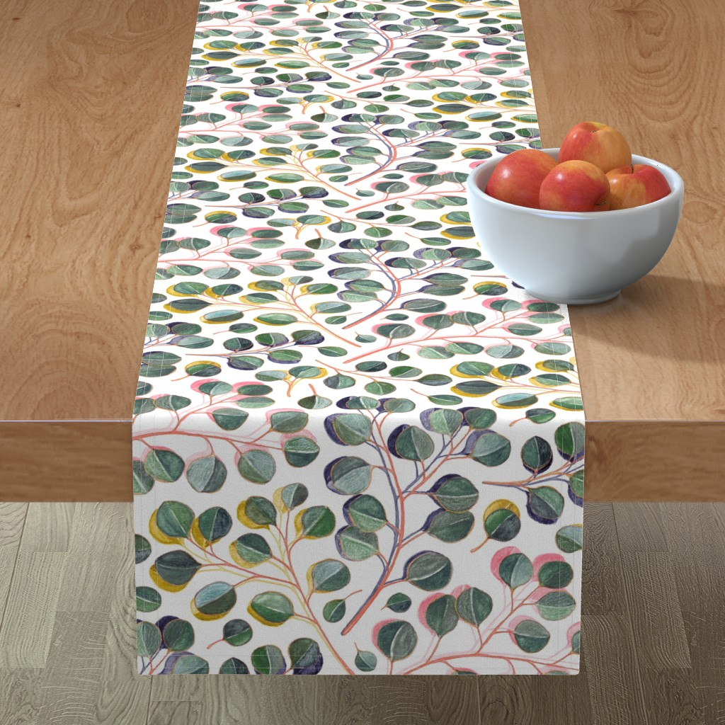 Minorca Table Runner featuring Simple Silver Dollar Eucalyptus Leaves by micklyn