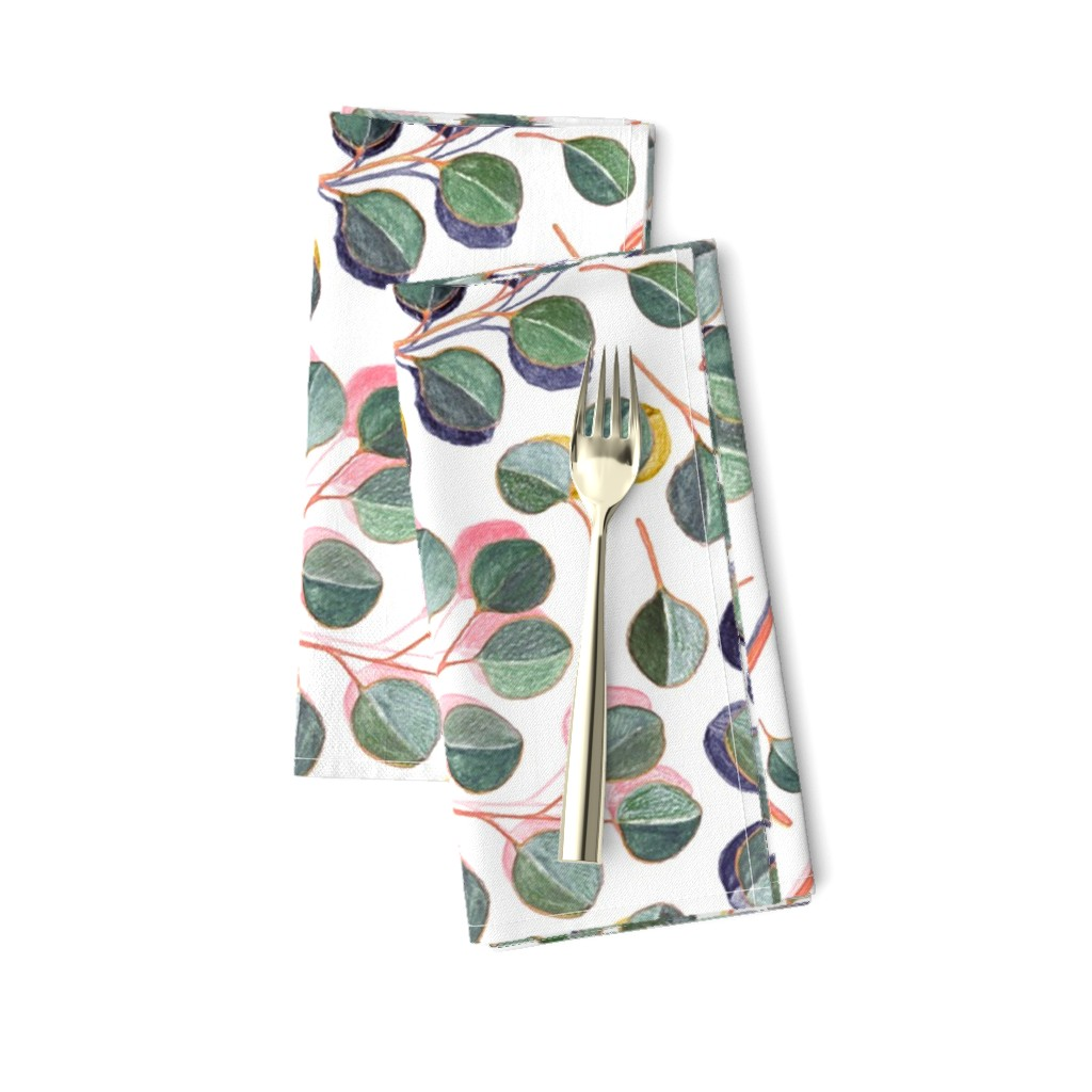 Amarela Dinner Napkins featuring Simple Silver Dollar Eucalyptus Leaves by micklyn