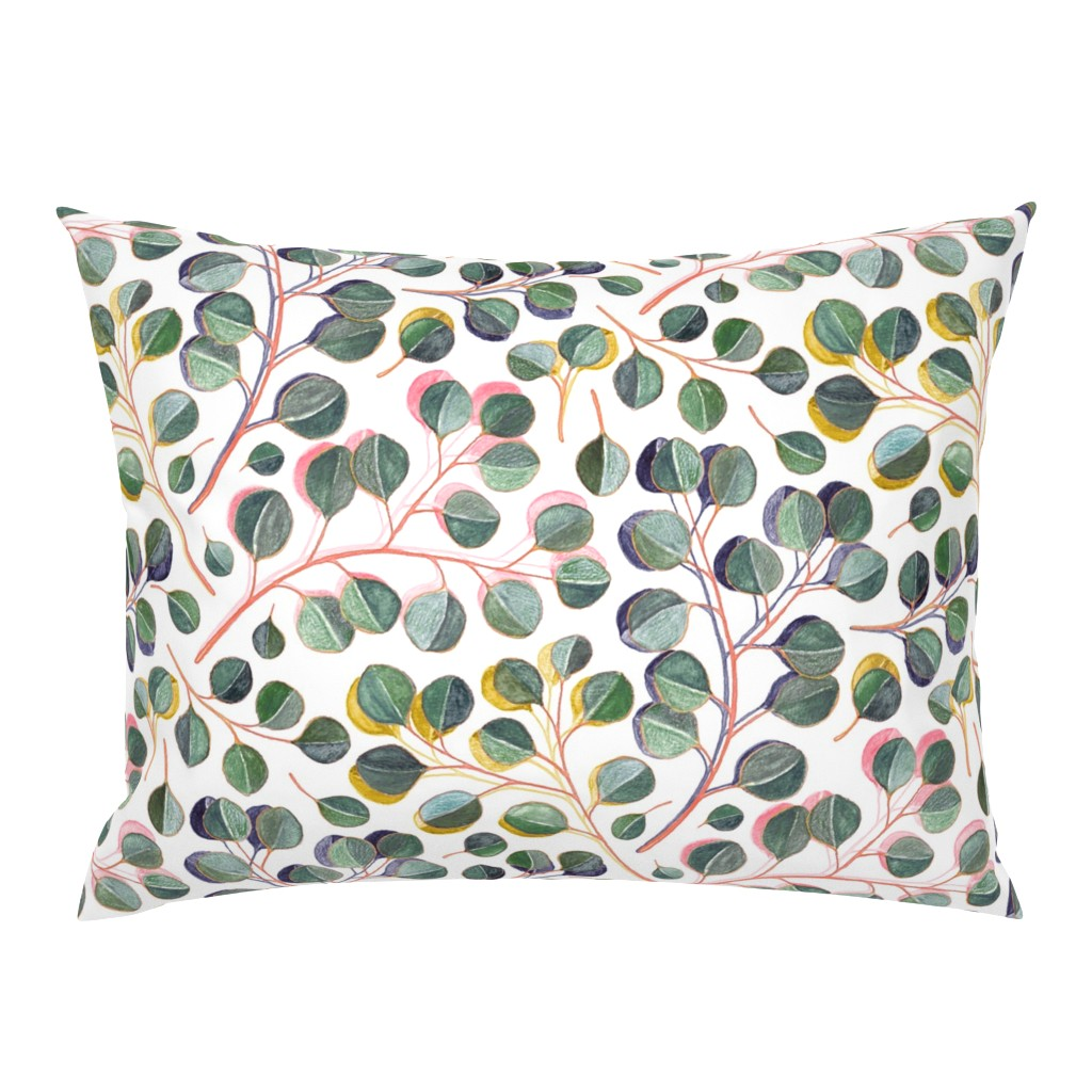 Campine Pillow Sham featuring Simple Silver Dollar Eucalyptus Leaves by micklyn