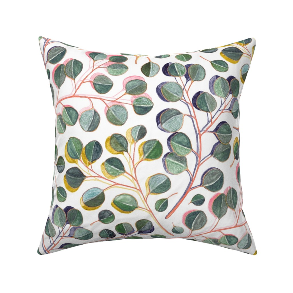 Catalan Throw Pillow featuring Simple Silver Dollar Eucalyptus Leaves by micklyn
