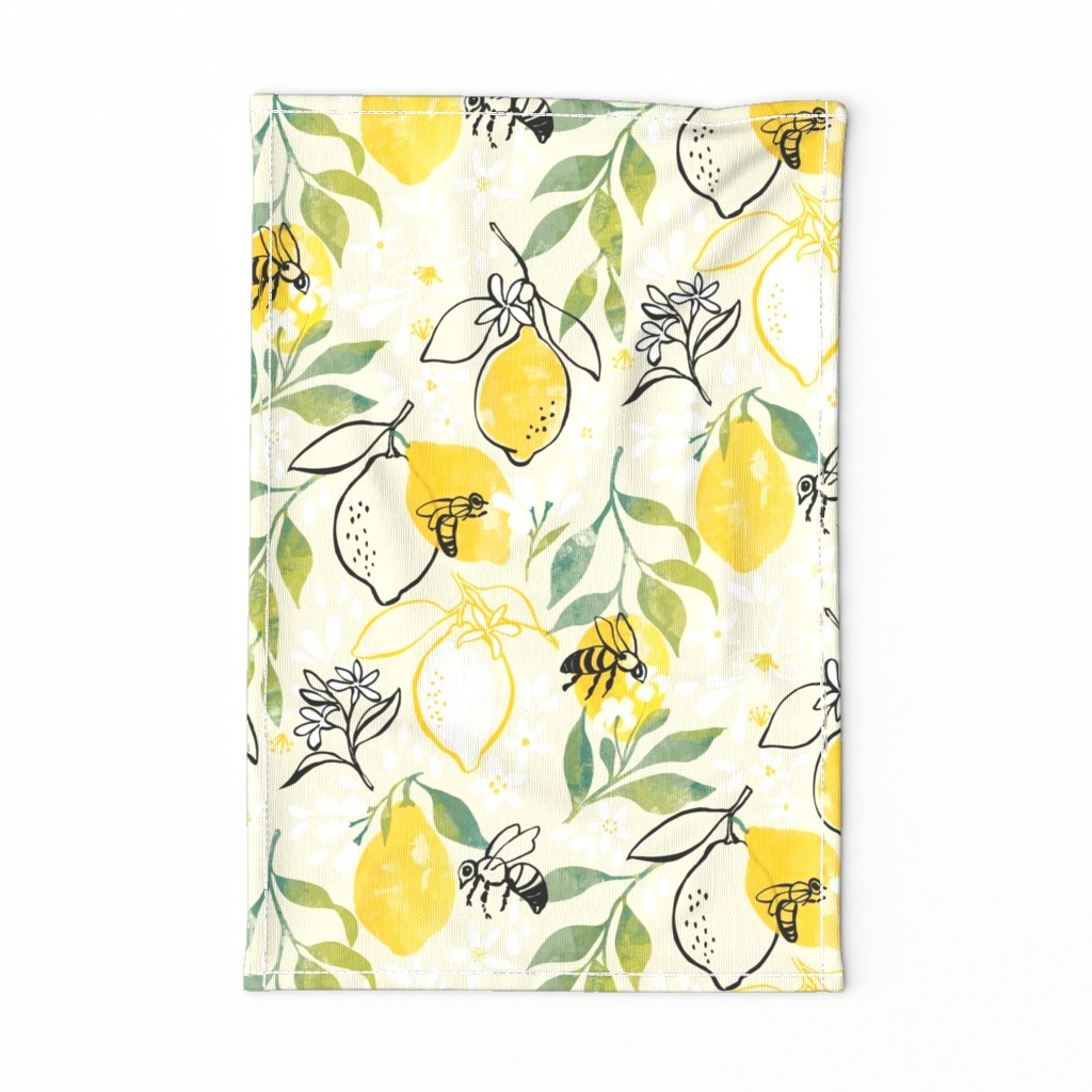 Special Edition Spoonflower Tea Towel featuring Just Bee - Rotated  by ohn_mar_win