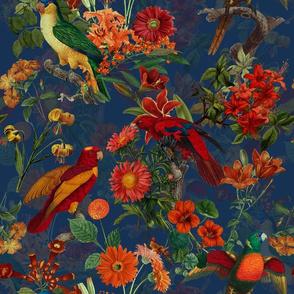 "14"" Pierre-Joseph Redouté Tropical birds in night flower jungle- moody florals"