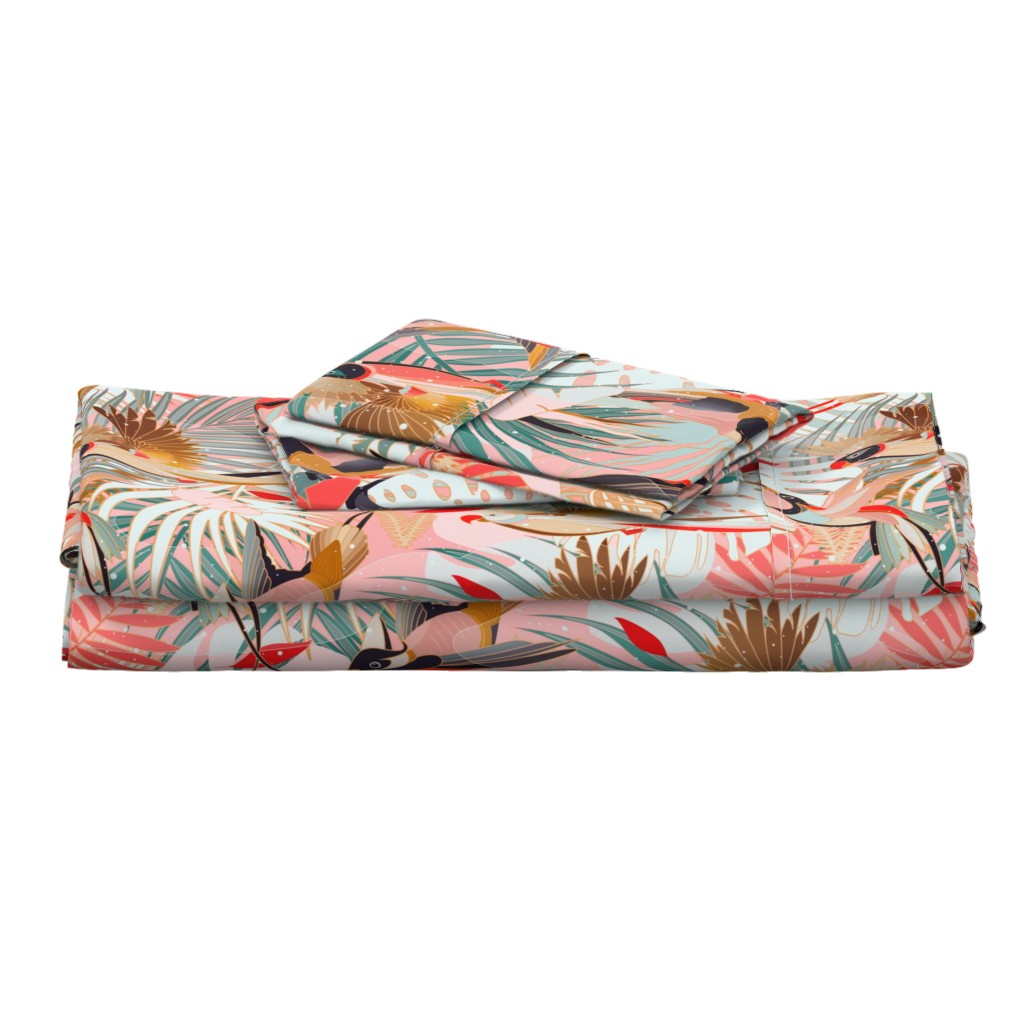 Langshan Full Bed Set featuring Boho Birds / Bohemian Paradise - Rotated by evamatise