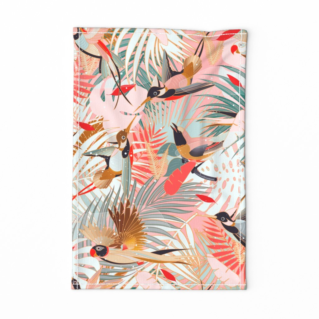 Special Edition Spoonflower Tea Towel featuring Boho Birds / Bohemian Paradise - Rotated by evamatise