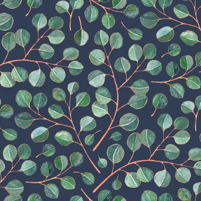 Simple Silver Dollar Eucalyptus Leaves on Navy - small