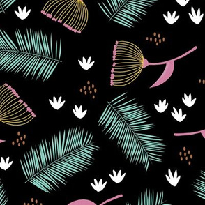 Australian wild flowers and leaves summer night print mint black pink yellow