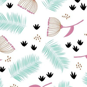 Australian wild flowers and leaves summer day print mint black pink yellow