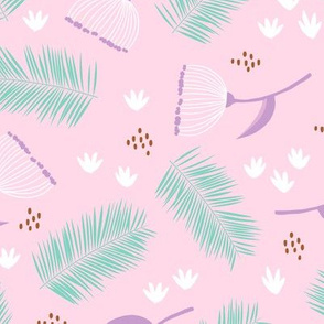 Australian wild flowers and leaves summer day print pink mint lilac