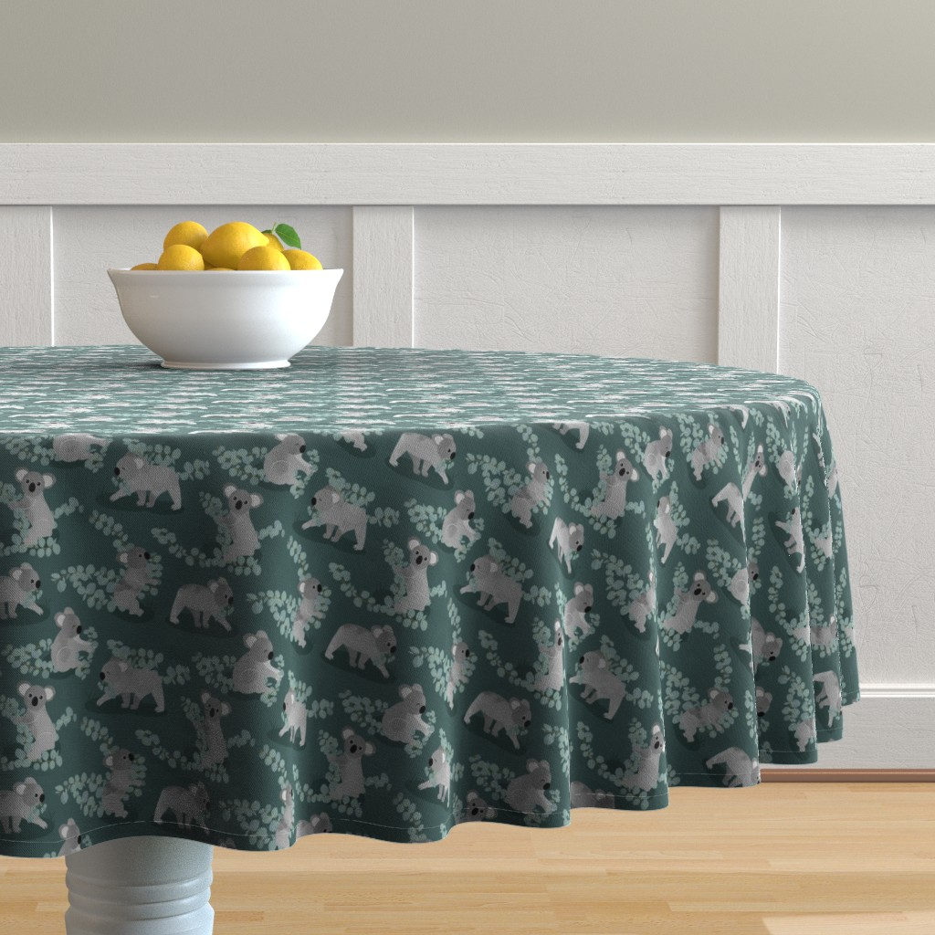 Malay Round Tablecloth featuring Koalas Gathering Eucalyptus  by jannasalak
