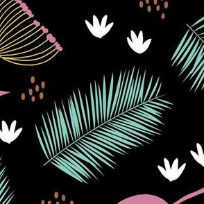 Australian wild flowers and leaves summer night print mint black pink yellow JUMBO