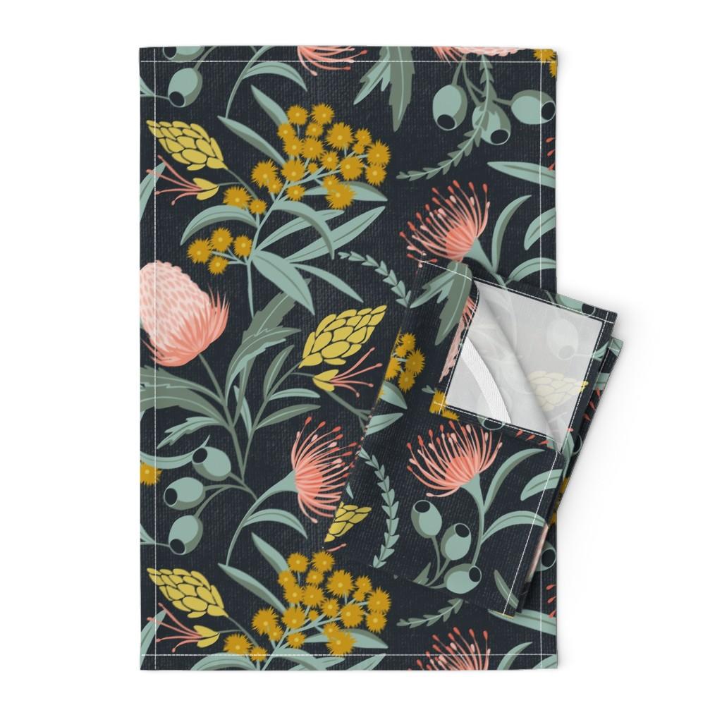 Orpington Tea Towels featuring Flora Australis - Large Scale by heatherdutton