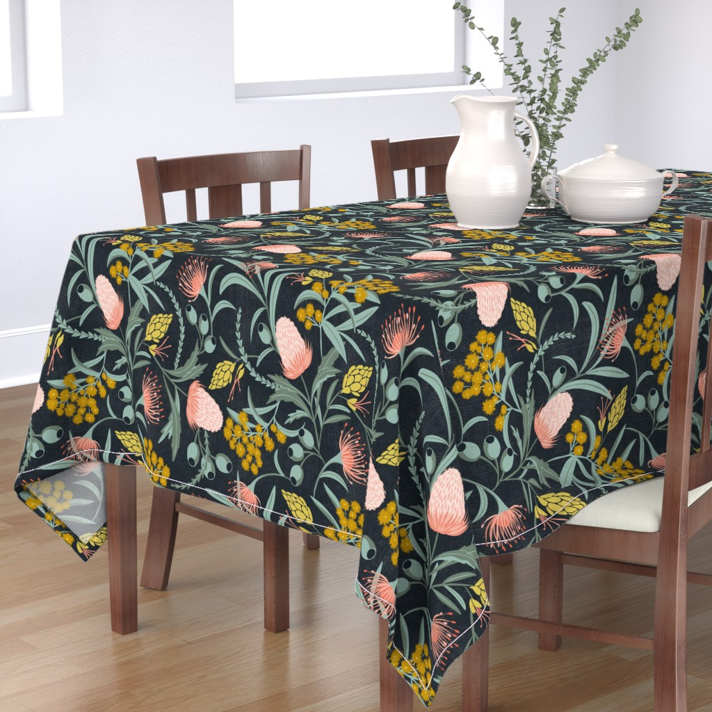 Bantam Rectangular Tablecloth featuring Flora Australis - Large Scale by heatherdutton